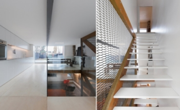 Left: The all-white kitchen runs along one wall, and a full-height window overlooks the backyard. On the floors is natural Russian plywood with an anti-slip finish. Right: Rather than a traditional railing for the double-height stairwell, Labrecque devised a curtain made from Dramex expanded metal framed in exposed timber.